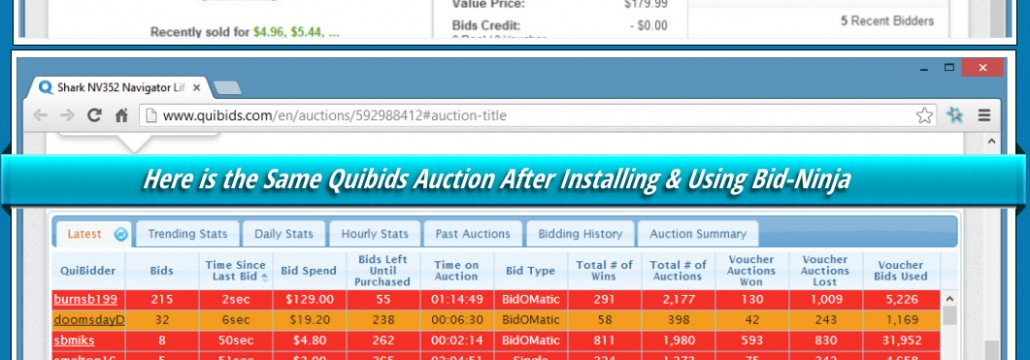 This before & after screenshot shows you what a QuiBids, DealDash or Beezid auction will look like without Bid-Ninja and what it will look like after you install it