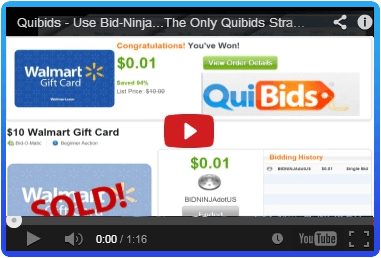 This demonstration video of Bid-Ninja on a QuiBids auction shows the power of the Bid-Ninja Analytics & AutoBidder
