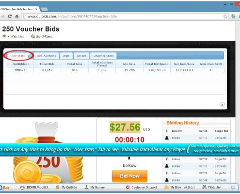 User Tab within Bid-Ninja shows you an overview of all user stats like win rate, total wins, total losses and so on