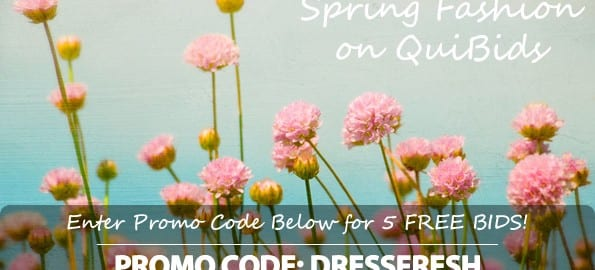 This is a picture of the QuiBids coupon code for five free bids. The code is DRESSFRESH