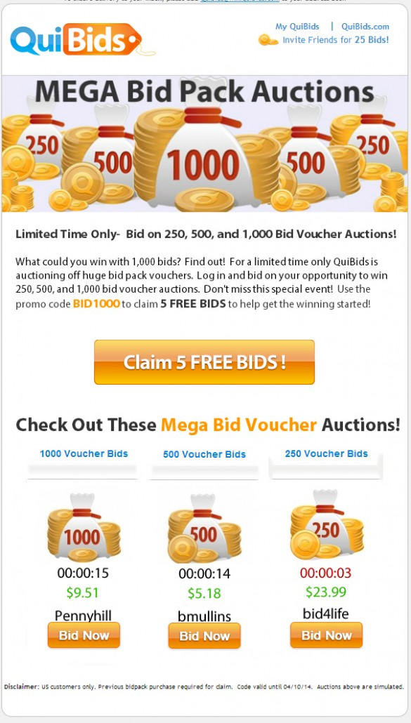 This is a picture of the email QuiBids sent out about their 1,000 voucher bid promotional auctions