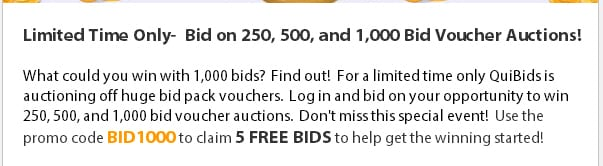 The coupon code they gave out for 5 free bids in honor of the promotion