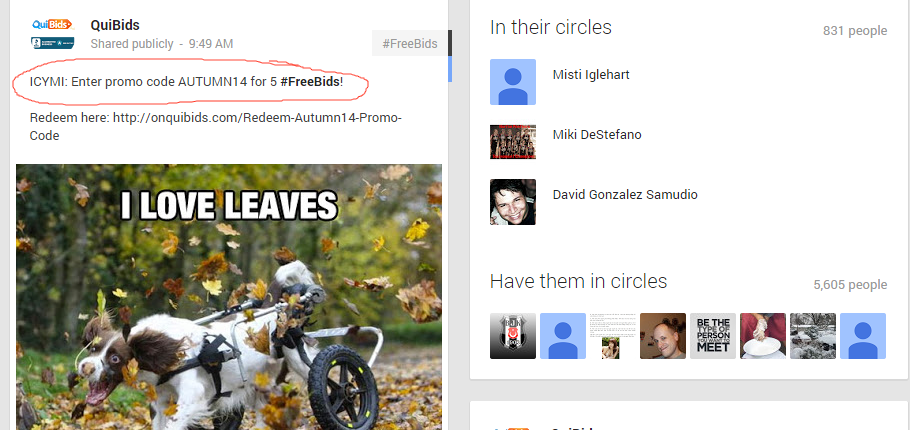 QuiBids Google+ Page Showing Latest Promo Code for Free Bids