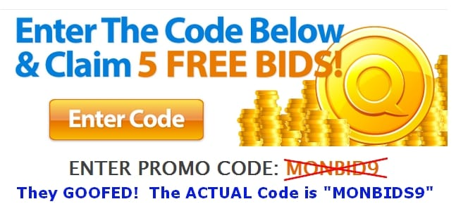 Picture of QuiBids Promo Code for the Month of September