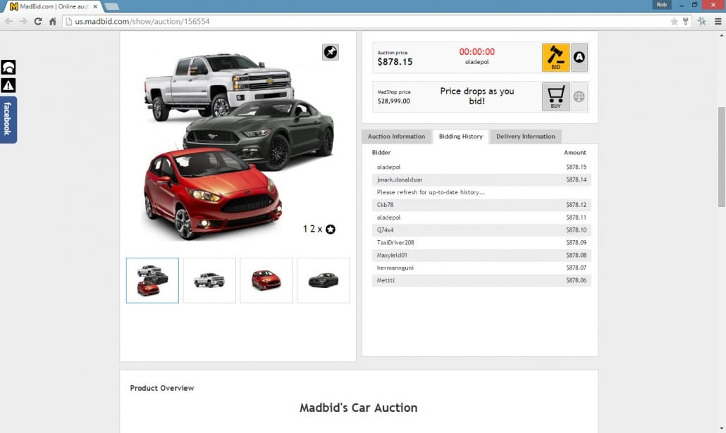 Screenshot of MadBid New Car Auction