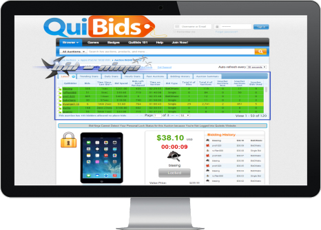 QuiBids Wall of Auctions